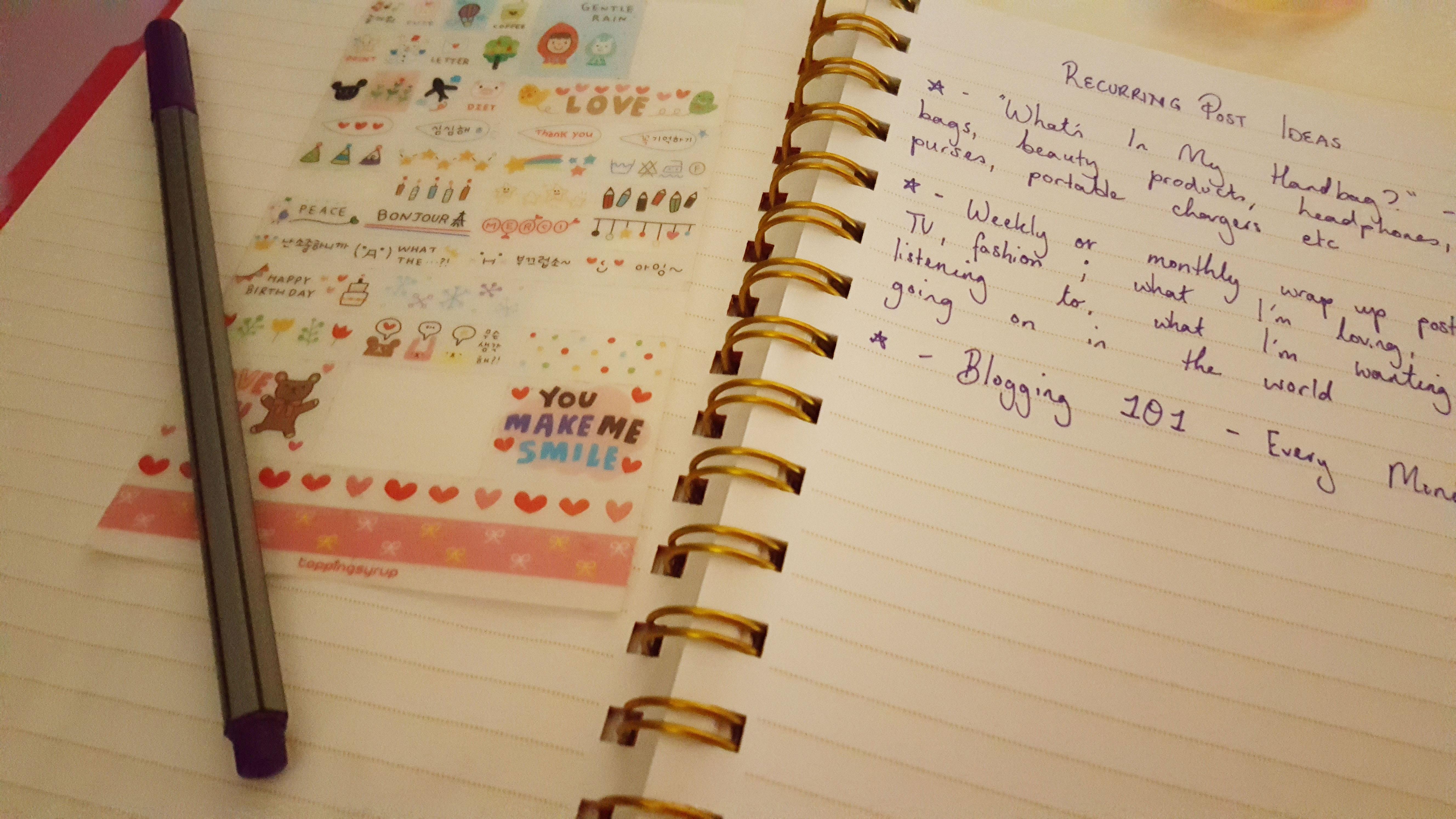 blog planner inside kawaii stickers