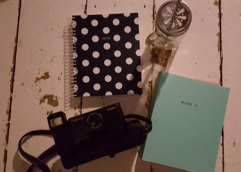 blog planner notes notebook polka dot vintage polaroid