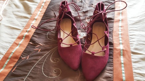 lace up burgundy flats