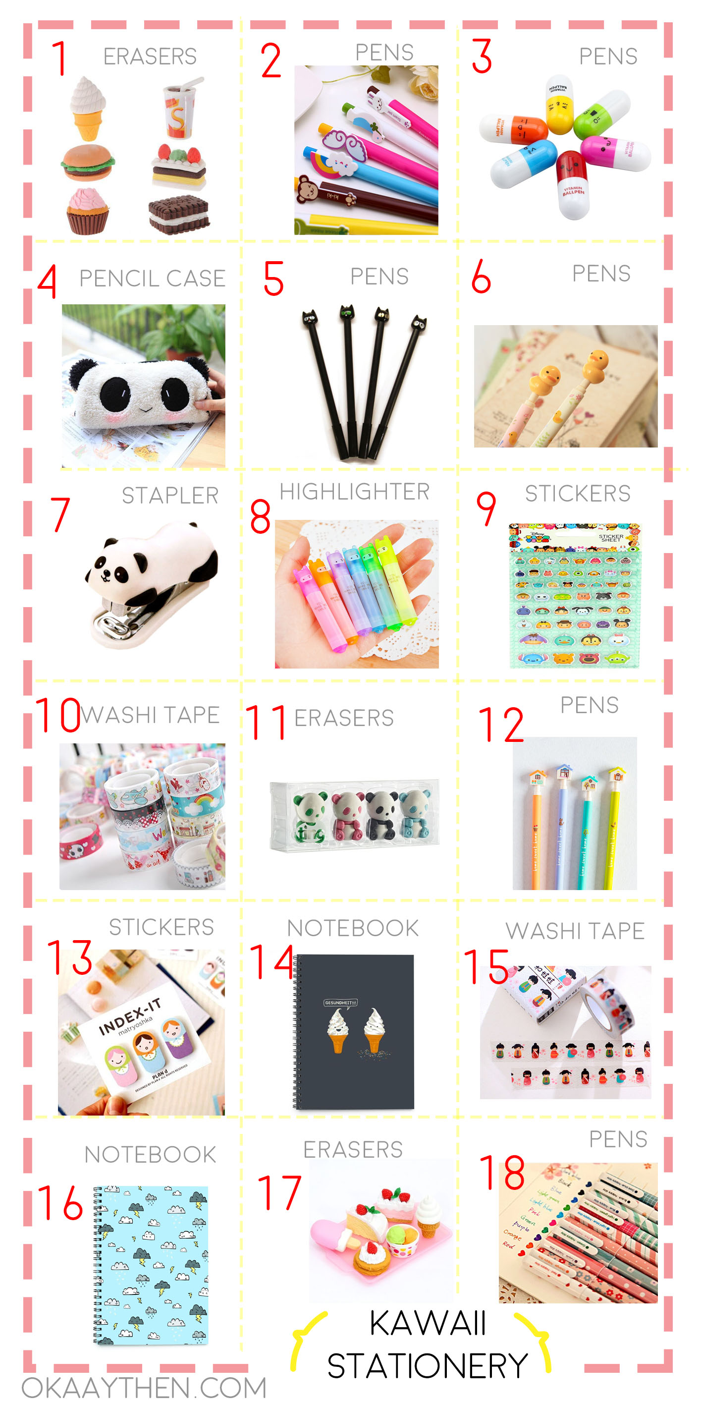 kawaii back to school stationery for teen girls